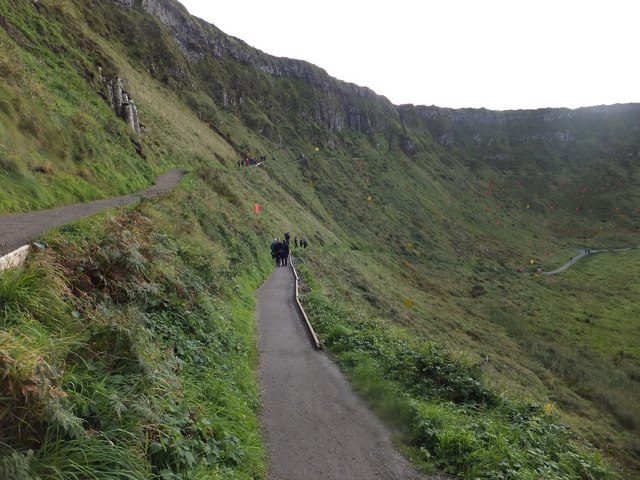 Paths on the cliff east of the Giant's Causeway