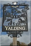 TQ6950 : Close-up of Yalding Village Sign (2012) by David Anstiss