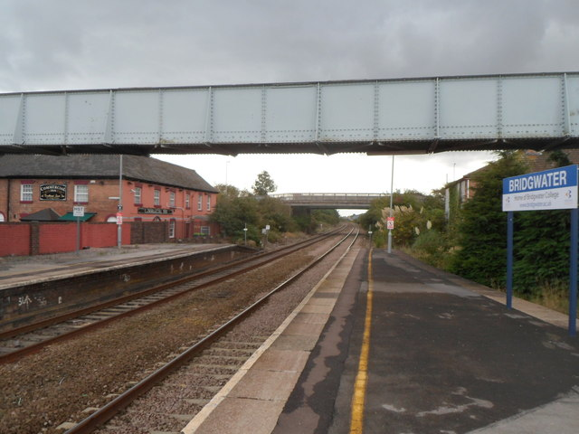 Footbridge over the southern edge of  Bridgwater railway station