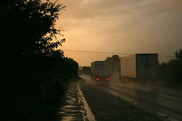 The A34 in rain and the sunset glow