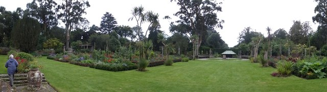 Panorama of formal garden at Mount Stewart
