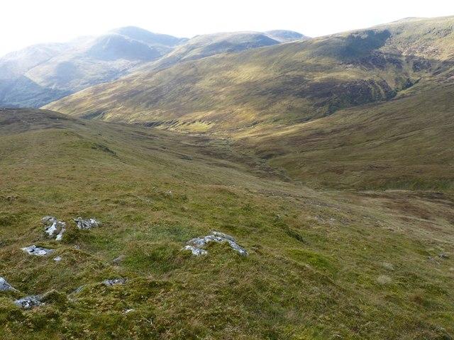 Downhill into Gleann Pollaidh