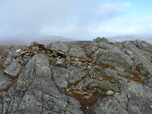 Summit cairn with Schiehallion on the background