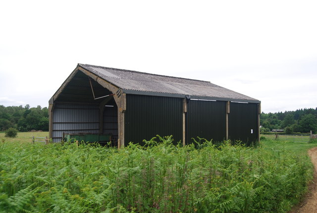 Farm building in a field