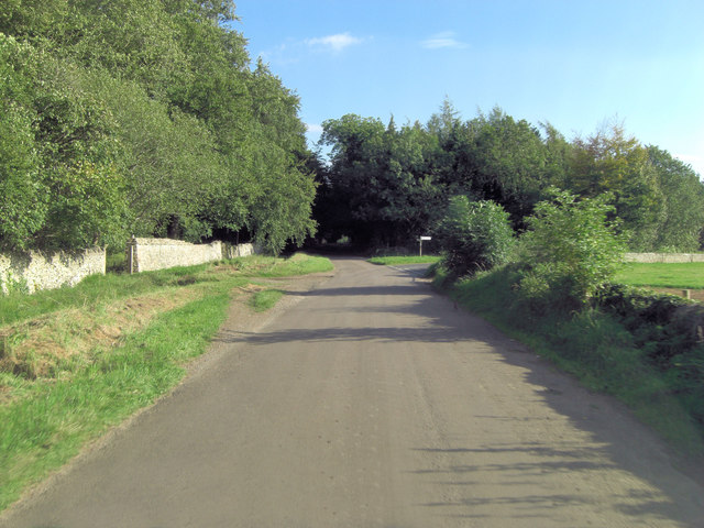 Unnamed lane forks north of Larkethill Wood