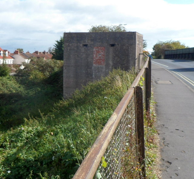 Pillbox on the west side of  Westonzoyland Road railway bridge,  Bridgwater