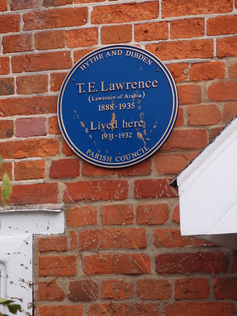 Blue Plaque for TE Lawrence, Hythe