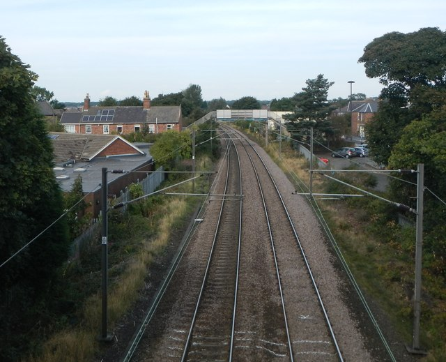 The East Coast Main Line and footbridge