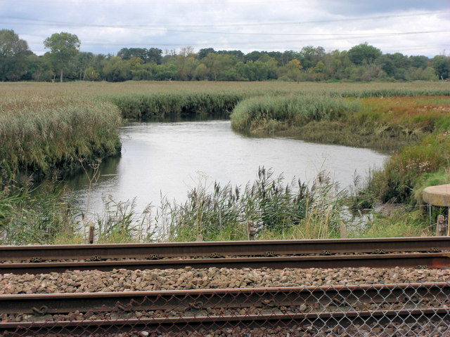 River Test meander approaches the railway