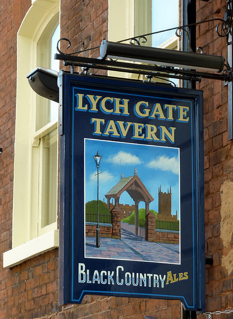 Lych Gate Tavern pub sign, Wolverhampton