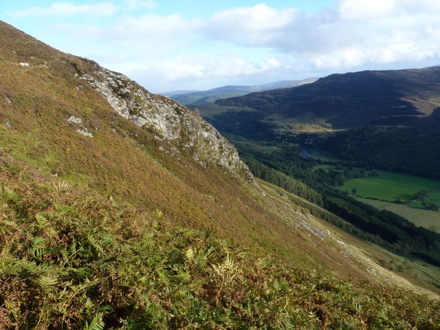 A sunlit crag above Glen Lyon