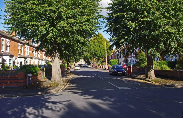 Shrubbery Avenue near its junction with Flag Meadow Walk, Worcester
