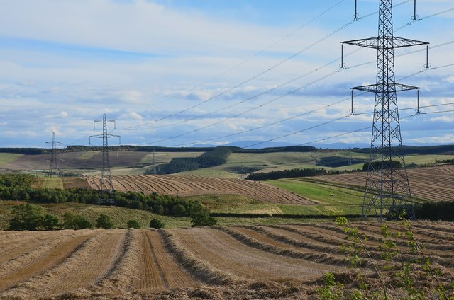 Power lines and farmland, Blackerstone