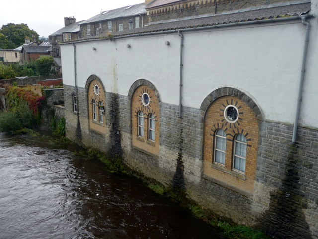 River Wye and rear of Cinema, Builth Wells, Powys