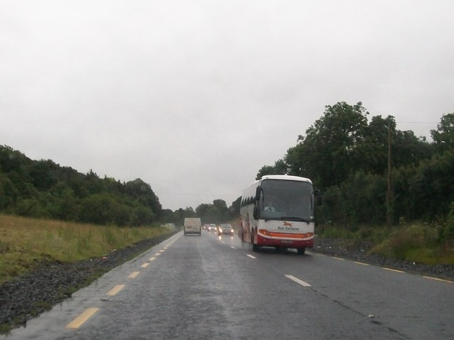 North bound Bus Eireann service bus on the N2 near Kilnadreen