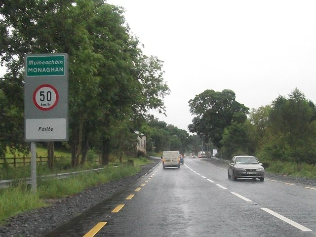 Entering Monaghan from the north on the N2