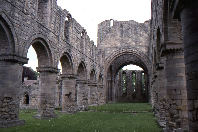 Buildwas Abbey: looking east along the nave