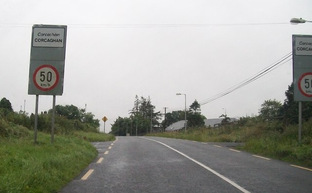 Entering the Co. Monaghan village of Corcaghan on R188