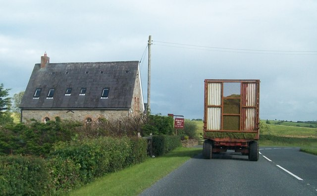 Agricultural traffic on the A35 south of Letterkeen