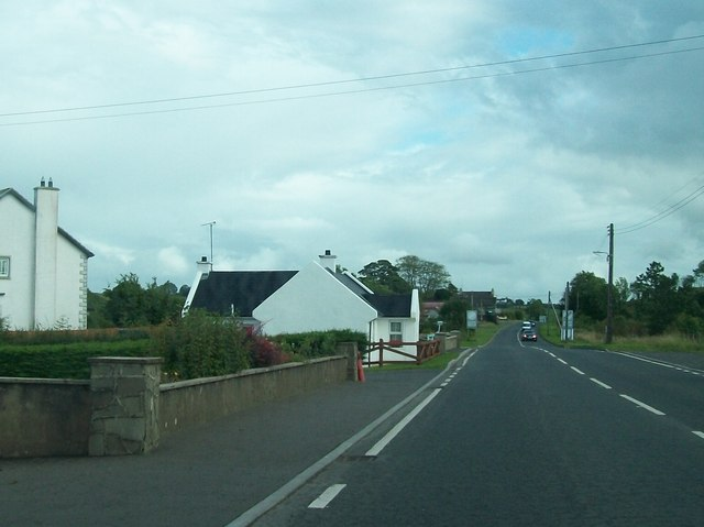 The A35 at the southern edge of the village of Kells