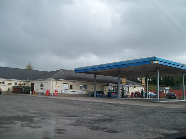Service station on the B82 at Lisnarick