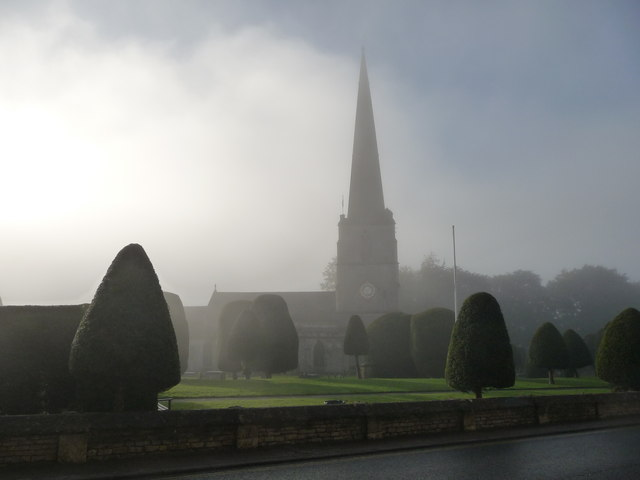 St. Mary's church, Painswick on an autumn morning