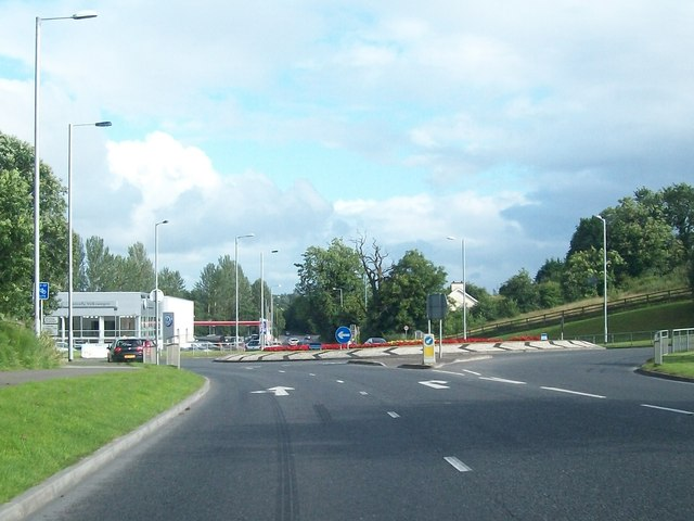 Approaching the traffic roundabout on the Irvinestown Road