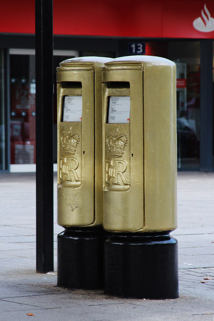 Greg Rutherford's Gold Post Boxes, Silbury Boulevard