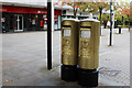 SP8539 : Greg Rutherford's Gold Post Boxes, Silbury Boulevard by Oast House Archive