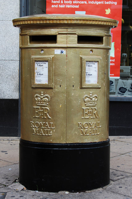 Natasha Baker's Gold Post Box, High Street