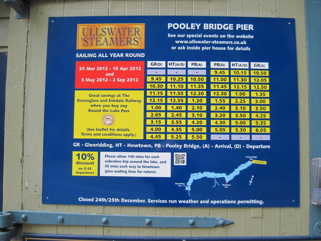 Ullswater  Ferry  Timetable  2012