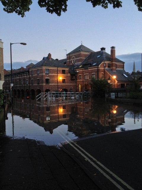 Skeldergate, in the September 2012 floods