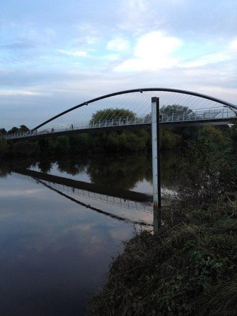 Millennium Bridge, and reflection, River Ouse.  York