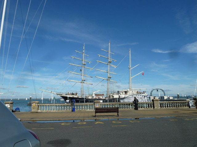 Tall ship on the  seafront at Cowes