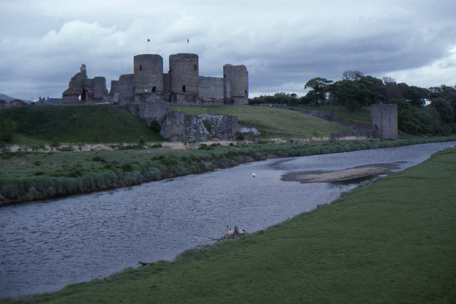 Rhuddlan Castle across the river