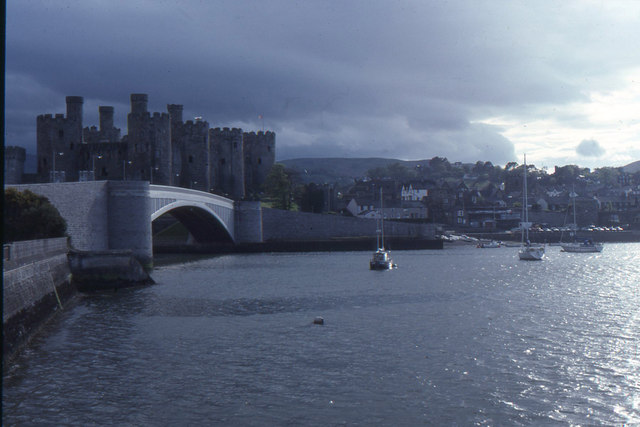 Conwy: castle, town and road bridge, across the estuary