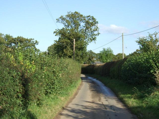 Lane heading east towards the B4116