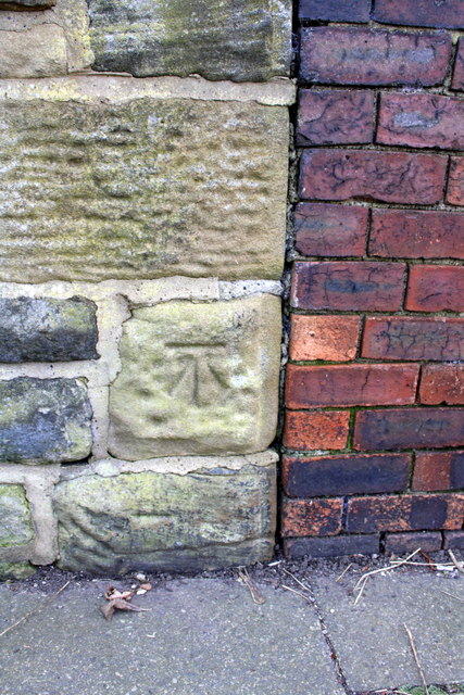 Benchmark on wall of Park Hill Walk