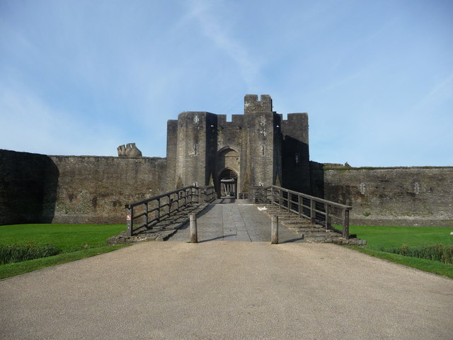 Approaching the entrance to Caerphilly Castle