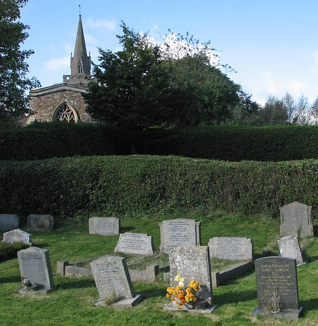 Burrough on the Hill: churchyard, east window and spire