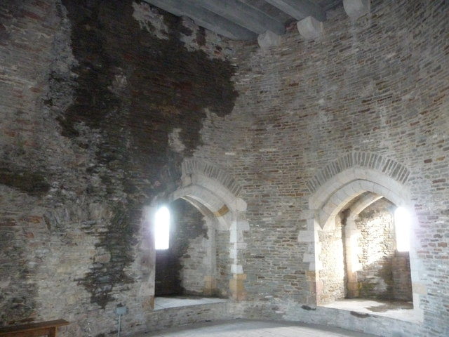 Inside one of the restored towers of Caerphilly Castle