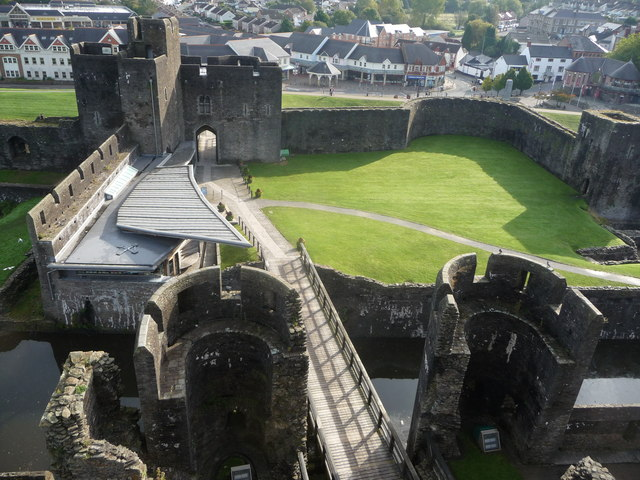View from one of the towers of Caerphilly Castle