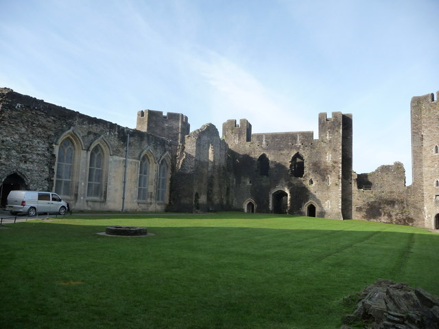 Part of the central courtyard of Caerphilly Castle