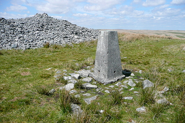 Trig point at Three Barrows