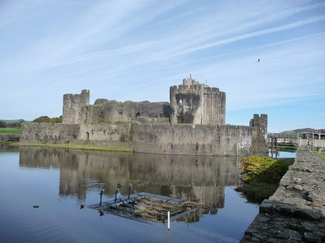 View of Caerphilly Castle and lake