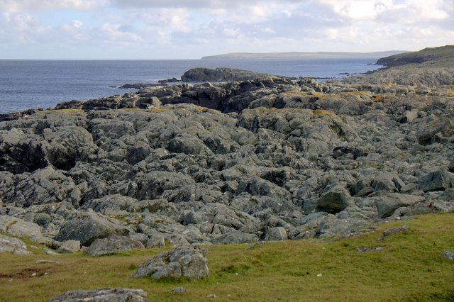 Rocky coastline on the east side of Ham Ness