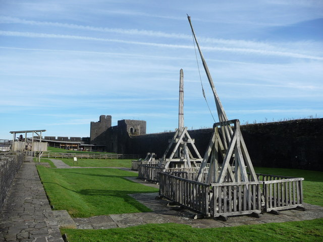 Siege engines at Caerphilly Castle
