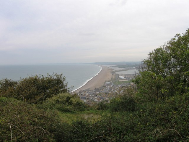 Looking down on Chesil Beach from Portland