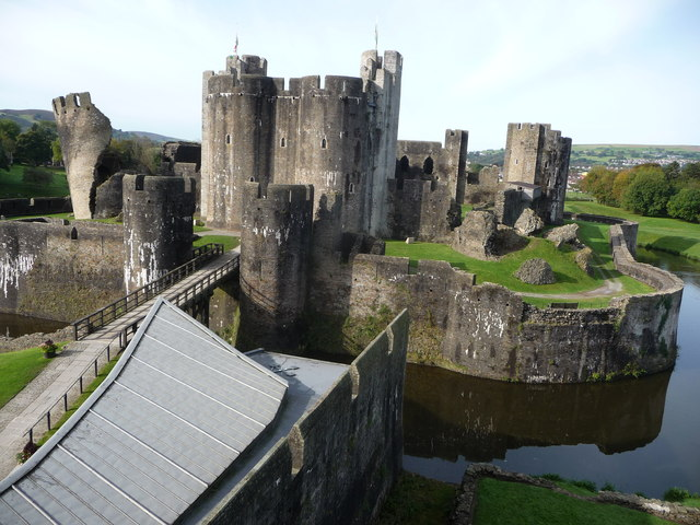 Caerphilly Castle from the gatehouse tower