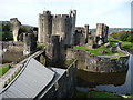 ST1587 : Caerphilly Castle from the gatehouse tower by Jeremy Bolwell